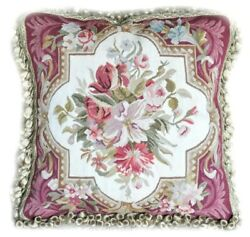 18 Red Florals Aubusson Throw Pillow Cover   Vintage Handmade Cushion Cover