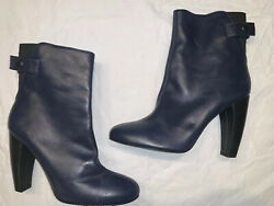 Tibi Boots sz 39.59.5 Blue Leather Ankle Bootiie Made in Italy DESIGNER BOOTS