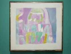 Vintage Abstract Painting By New York City Artist Lenora Bermann 1942-2002