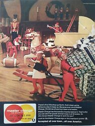 1970 Master Charge Card Busy Christmas Elves At Work Vintage Ad