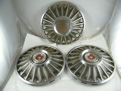 1967 Ford Mustang Hub Caps With Removable Red Center Lot Of 3 One Center Missing