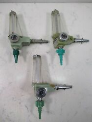 Lot Of 3 Vintage Ohio Medical Products Oxygen O2 Flowmeters Airco Art Deco Look