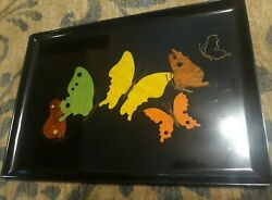 Couroc Of Monterey Vintage Tray Butterfly Design