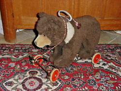 Antique Steiff Riding Bear Near Mint 1930s Rare Two Tone And Hump