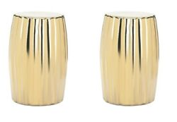 2 Gold Ceramic Stools Side Tables Plant Stands Bold Contemporary Look