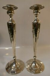 Antique Pair Of Sterling Candle Sticks W/ Raised Peacock Design-14 7/8