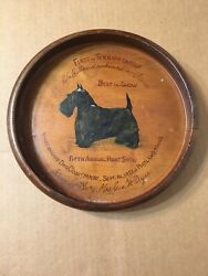 1951 Scottish Terrier Hand Painted Award Trophy Plate Vacationland Dog Club
