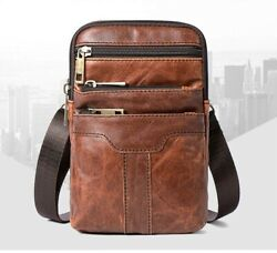 Messenger Bag Genuine Leather Small Vintage Crossbody Bags For Men Leather Bag $21.00