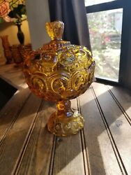 Vintage Le Smith Amber Moon And Stars 10 Tall Pedestal Covered Compote Candy Dish
