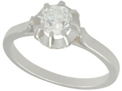 Antique 0.63 Ct Diamond And 18k White Gold Solitaire Engagement Ring