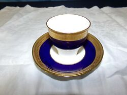 Minton G6262 Pattern Cobalt And Gold Encrusted Demitasse Cup And Saucer Circa 1926