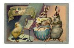 Vintage Winsch Easter Postcard Rabbit Band With Chick Conductor