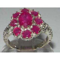 Solid 18ct White Gold Natural Ruby Womens Cluster Ring - Sizes J To Z