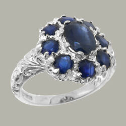 Solid 18ct White Gold Natural Sapphire Womens Cluster Ring - Sizes J To Z