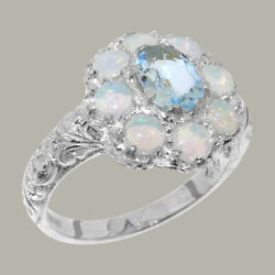Solid 18ct White Gold Natural Aquamarine And Opal Womens Cluster Ring