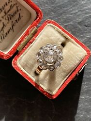 Antique Large Yellow Gold Diamond Cluster Ring Flower 1ct20