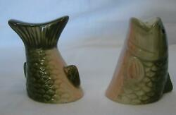 Vintage Large Mouth Bass Carp Freshwater Fish Ceramic Salt And Pepper Shakers