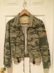 Miss Sixty Jacket Camo Embroidered Patches Light weight Women's Sz. Small Italy