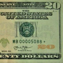 2013 20 Dollar Bill Starnote Low Numbers U.s Federal Reserve Note339