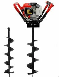 2.3 Hp Gas Powered Post Hole Digger W/2 Auger Bits 6 + 10 55cc Power Engine