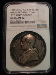 1881 Dated Vatican Silver Medal Ngc Ms 62 Leo Xiii