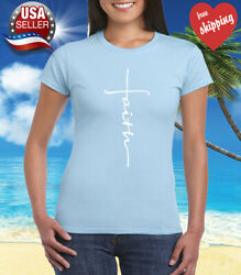 Faith Cross Women#x27;s T Shirt Crhristian Faith Shirt Church Shirt Light Blue $9.95