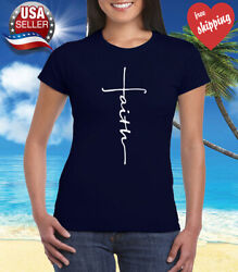 Faith Cross Women#x27;s T Shirt Crhristian Faith Shirt Church Shirt Navy Blue $12.00