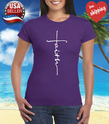 Faith Cross Women#x27;s T Shirt Crhristian Faith Shirt Church Shirt Purple $9.95