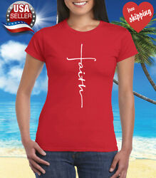 Faith Cross Women#x27;s T Shirt Crhristian Faith Shirt Church Shirt Red $9.95