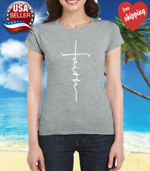 Faith Cross Women#x27;s T Shirt Crhristian Faith Shirt Church Shirt S. Gray $12.00