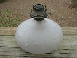 Antique Queen Anne 2 Phoenix Consolidated Frosted Glass Art Deco Floral Oil Lamp