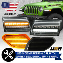 4pcs COMBO SEQUENTIAL Signal LED DRL+Side Marker Light For 18+ Jeep Wrangler JL