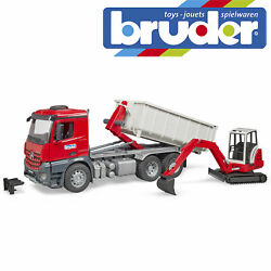 Bruder Mb Arocs Truck Roll-off Container Mini Excavator Toy Model Scale 116