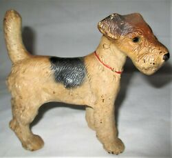 ANTIQUE HUBLEY STANDING FOX TERRIER CAST IRON DOG HOME GARDEN STATUE DOORSTOP