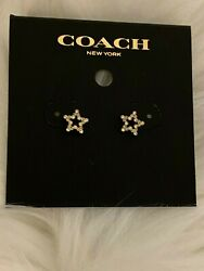 New Coach Small Star Shaped Paved Stud Earrings Gold Tone Bling Sparkle F37961