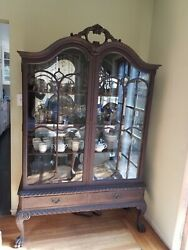 Antique Glass China Cabinet. Painted Chinese Black In Style Of Period.