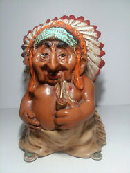 Vintage 1973 Resin Universal Statuary Indian, Indian Smoking A Pipe 265