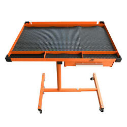Heavy Duty Adjustable Work Table Bench200 Lbs Rolling Tool Cart Tray With Wheel