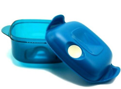 Tupperware Square Heat N Serve Microwave Container 5 Cup Turquoise Blue New