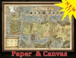 Westeros And Essos Map Got Fan Gift - Paper Canvas Print Fantasy Map Wall Art