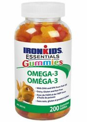 Iron Kids Gummies Omega 3#x27;s for Smart Kids 200 Gummies New Fresh