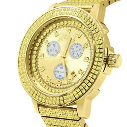 Real Diamond Dial Full Stainless Steel Canary Gold Tone Men's Watch W/date 54mm