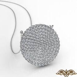 Circle Cluster Diamond Womenand039s Gold Pendant Necklace 18 Inch Rolo Chain 2.35 Ct.