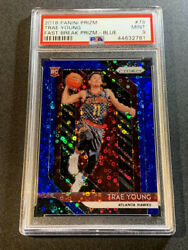 Trae Young 2018 Panini Prizm 78 Fast Break Blue Refractor /175 Rookie Rc Psa 9