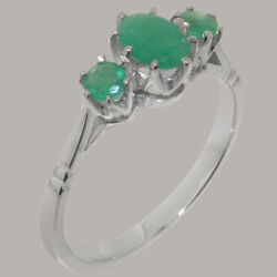 Solid 18ct White Gold Natural Emerald Womens Trilogy Ring - Sizes J To Z