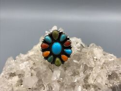 Navajo Sterling Silver Sleeping Beauty And Multi Stone Cluster Ring - B. Johnson