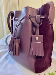Longchamp BRAND NEW Penelope Soft Leather and Suede Bucket Bag Purple $359.99