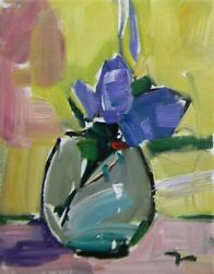 Jose Trujillo - Oil Painting 8x10 Impressionism Blue Flowers Collectible Glass