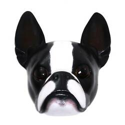 BOSTON TERRIER Hand-crafted Signed SCULPTURE MASK Bali