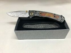 New Benchmade Gold Class 15085-201 Limited Mini Crooked River Damasteel Blade